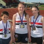 Georgie Hannaway (Gold U17W 800m), Alicia Burke (Bronze U17W 800m) & Matty Richardson (Silver U13 1500m)