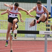 Warren Turner(3) & Matt Thompson (33)successfully hurdle a barrier on there way to victory in the A & B steeplechase