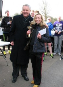 Kirsty Longley with Mayor of Halton after her victory in 2013 Bridge Race