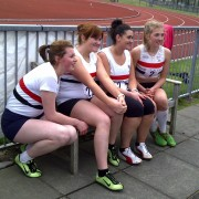 Four happy LPS girls take a break from competition