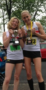 Kirsty Longley 10k winner and Lisa Gawthrone 5k winner at Port Sunlight