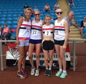 Winners all at Sport City...Zoe Tarrach, Lisa Gawthorne, Kirsty Longley and Maxine Thompson. Is that John Bradshaw in the background finally bowing to `girl power'?
