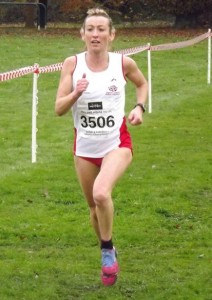 Kirsty Longley in action for England