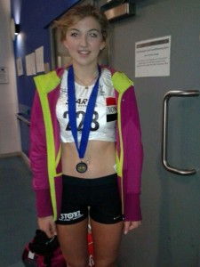 Amelia McLaughlin Gold Medal winner at Northern Athletics Indoor Championships 2014