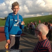 Owen Southern set a new Under 13 club high jump record with 1.55 at Wavetree, he was presented with his medal by Jim Green