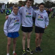 Dan Jones, Daniel Slater and Matt Richardson 10th team at the English Cross Country Relays at Mansfield and second Northern club