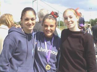 Three of our medal winners at the Merseyside Champs, Nicola Gundersen,(2nd U20 800m) Nicola Bear (1st U17 800m), and Lindsay Doyle (2nd Senior Womens 1500m.
