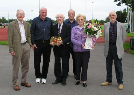 Club President Les Williams and his wife Brenda receive a presentation on behalf of the club for his long service. Left to Right, Leo Carroll Chairman of Merseyside County AA, Charles Gains Les Williams, Wally Bridson, Brenda Williams, Derek Pellatt.