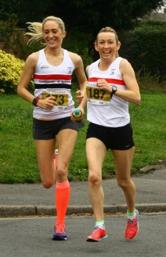 Lisa Gawthorne and Kirsty Longley warming up prior to Hale 5
