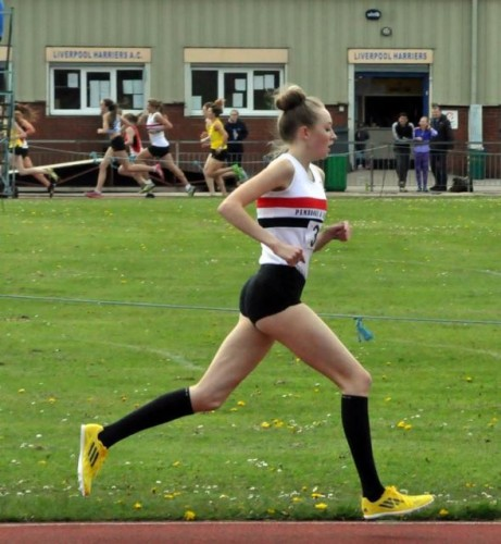 Rosie Johnson on her way to victory in the 1500m at Wavertree on 3rd May