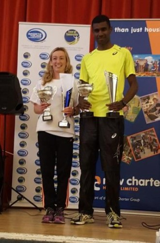 Kirsty Longley first in the Tour of Tameside with men`s winner Mohammad Abu Rezeq (Altrincham)