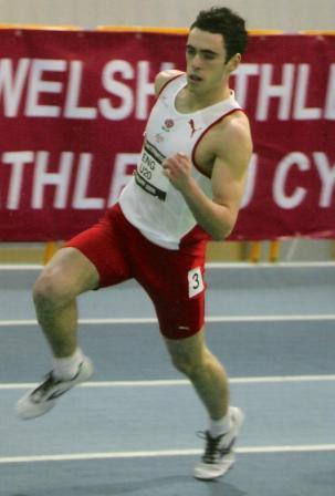 Harry Doran running indoors at Cardiff