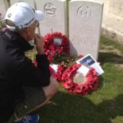 Alan Cooper at Noel Chavasse's grave