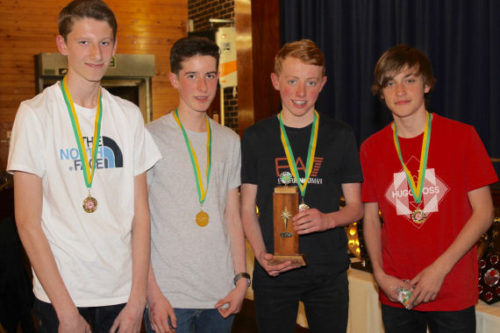 U15B picked up the team gold with (L-R)Ross Harrison, Tom Dickinson, Adam Jones & Joe Houghton