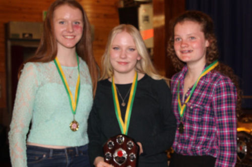 U15W also won the team award with (L-R)Flossie Dickinson, Charlotte Mawdsley & Morag Molybeux