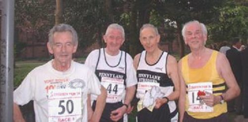 Joe (50) at the end of the Croxteth Park 10k 2003