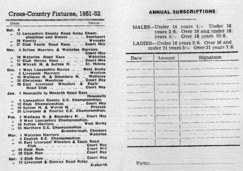 Pembroke Fixture List 1951
