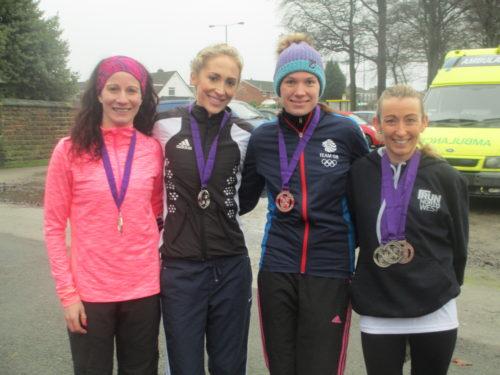 LPS silver medal winning team, (L-R) Helen Sahgal, Lisa Gawthorne, Vicky Jones, Kirsty Longley