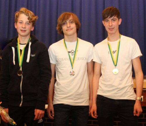 U15 boys - L-R Oliver Sutcliffe, Joe Houghton, Tom Dickinson