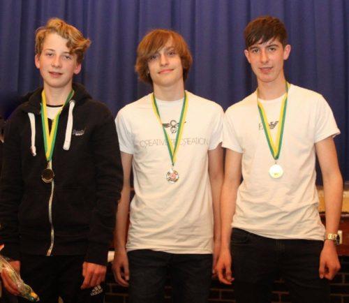 U15 boys - L-R Oliver Sutcliffe, Joe Houghton, Tom Dickinson