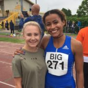 Scarlet Whitfield with long jumper Jazmin Sawyers