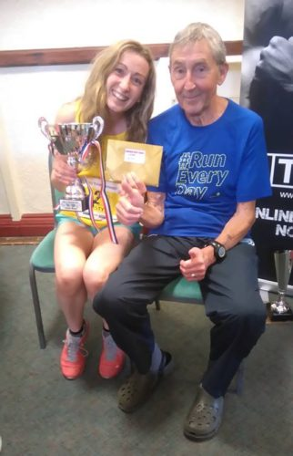 Kirsty Longley pictured with Ron Hill MBE
