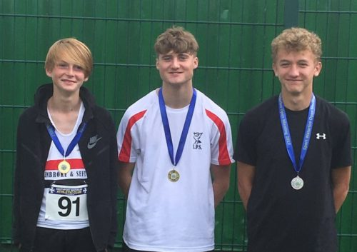 All smiles from the high jumpers L-R Sandy Clarkson, Kai Finch, Owen Southern