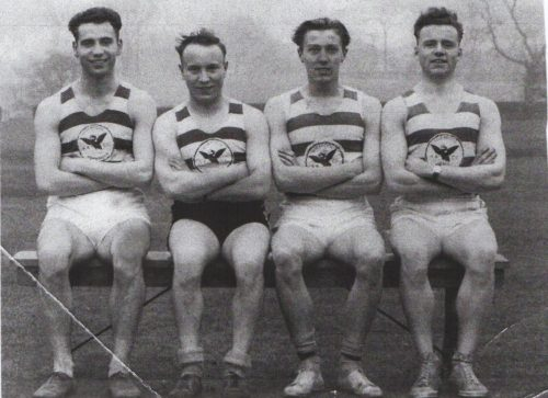 The winning sprint relay quartet who in 1953 took both the Northern and National Junior 4 x 100 yard titles, Jim Railton, Fred Hughes, Geoff Brandwood & Peter Matthews)