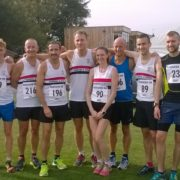 LPS athletes at Ormskirk 10k L_R Sam Carr, Adam Jones, Mark Hudson, Andy Foster, Mike Gall, Victoria Gilbody,Steve Lennon, Danny Gilbody, Michael Anderson, Dan Jones