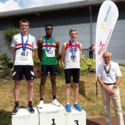 Matt Ingram on the podium at Northern Athletics championships