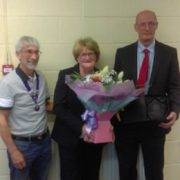 Bob Brimage presents Margaret and Andrew Bridson with the award