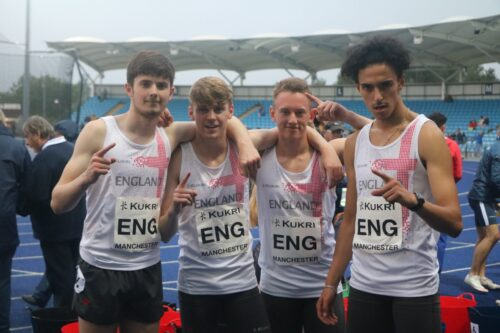 Mark Roberts in the England under 20s 4x400 team